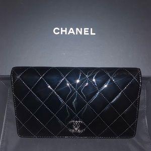Chanel Classic Black CC Patten Leather Yen Wallet